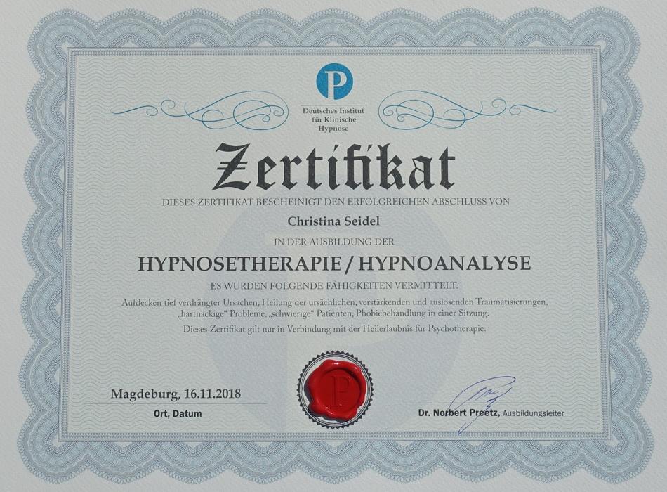 Zertifikat Preetz Christina Seidel